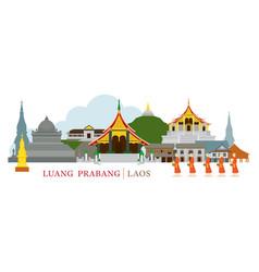 Luang prabang laos landmarks and monks on alms vector