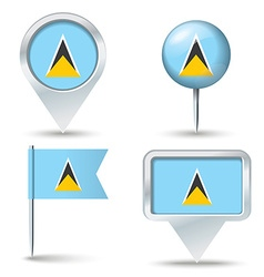 Map pins with flag of saint lucia vector