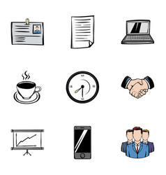 Marketing icons set cartoon style vector