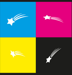 Meteor shower sign white icon with vector