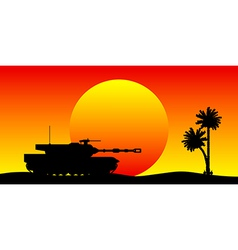 Modern heavy tank in desert vector
