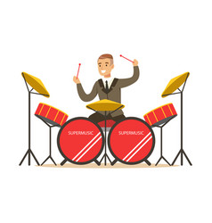 Musician man wearing a classic suit playing drums vector