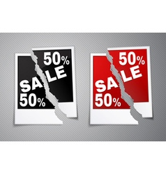 Photo discounts torn in half vector image vector image