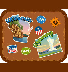 wisconsin wyoming travel stickers vector image vector image