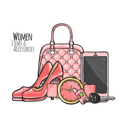 Women items and accessories pink female objects vector