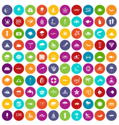 100 diving icons set color vector