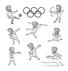 Olympic athlete set hand drawn vector