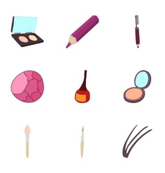 Cosmetics icons set cartoon style vector