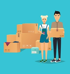 Young couple moving box for moving open box flat vector