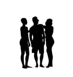 Silhouette man standing with two women full length vector