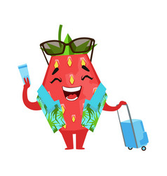 Strawberry traveler holding his ticket and vector