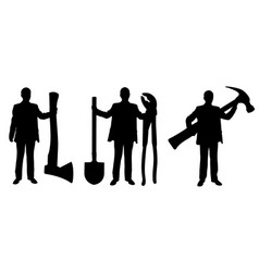 people silhouettes holding big tools vector image