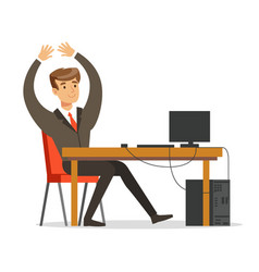 Successful businessman working on his laptop vector