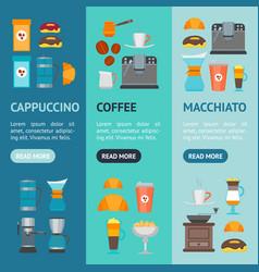 Coffee shop banner vecrtical set vector