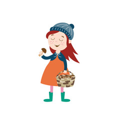Flat girl collecting mushrooms in basket vector