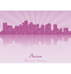 Boston skyline in purple radiant orchid vector