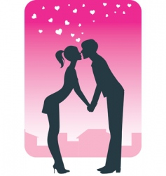 kissing on a date vector image