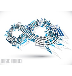Forever music concept infinity symbol made with vector