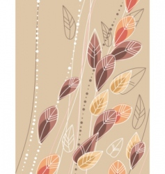 Beige background with contour leaves vector