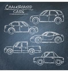 Set of car sketches on chalkboard vector image