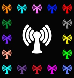 Wi-fi internet icon sign lots of colorful symbols vector