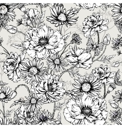 Monochrome floral seamless pattern with blooming vector