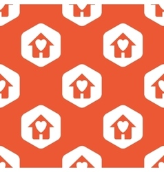 Orange hexagon love house pattern vector