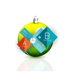 Christmas ball on white with reflection and vector