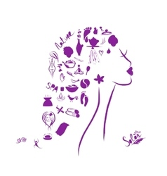Female head spa concept for your design vector