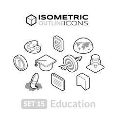 Isometric outline icons set 15 vector