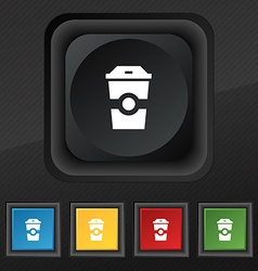 Breakfast coffee icon symbol set of five colorful vector