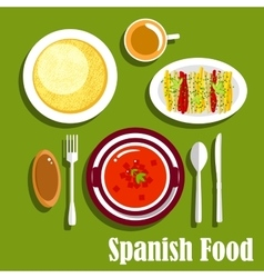 Vegetarian dishes of spanish cuisine vector