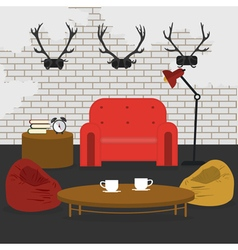 Modern Interior Living Room in Grunge Style vector image