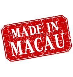 Made in macau red square grunge stamp vector