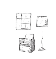 Hand drawn room interior chairs sketch vector