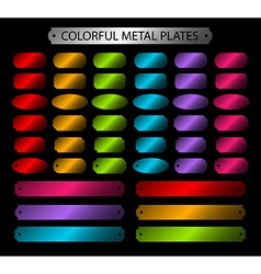 Colorful metal plates glossy vector