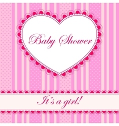 Baby shower with heart banner girl vector image vector image