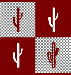 Cactus simple sign bordo and white icons vector