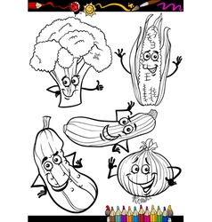 cartoon vegetables set for coloring book vector image