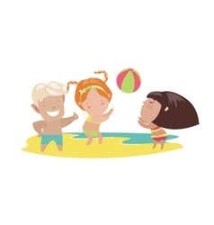 Children playing beach volleyball vector
