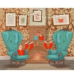 christmas cartoon interior vector image