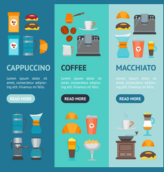 coffee shop banner vecrtical set vector image vector image