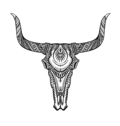 Decorative bull skull in tattoo tribal style hand vector