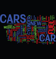 Fuel efficient cars text background word cloud vector