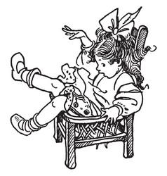 girl falling vintage vector image vector image
