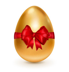 golden easter egg with red bow vector image vector image