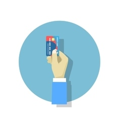 Hand holding credit card flat style trend modern vector image