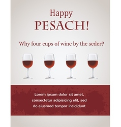 Happy passover - 4 cups of wine for seder vector