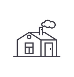 house with chimney line icon sign vector image