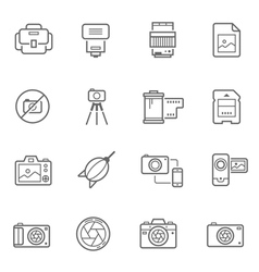 Lines icon set - camera and accessory vector